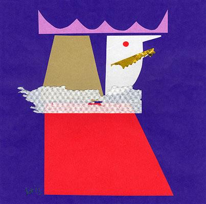ぼくは王さま I am a King 167 mm x 167 mm origami paper-cut 2013 Ⓒ Hanae Tanazawa