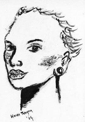 Woman's Face 女の顔 305 mm x 230 mm ink 2004 Ⓒ Hanae Tanazawa
