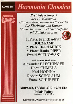 """Preisträgerkonzert mit der Uraufführung des """"Moment Musical"""" (w 262) 2017 in Wien"""
