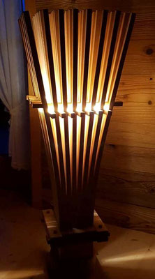 Zirbenholzklimabesen mit LED bei Dunkelheit