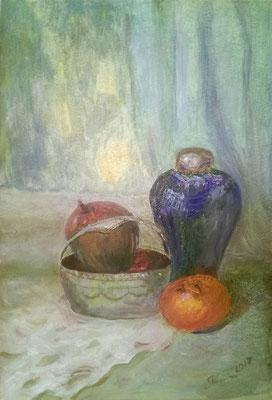 Натюрморт с авокадо. 2017. Картон, масло. М.В.М.