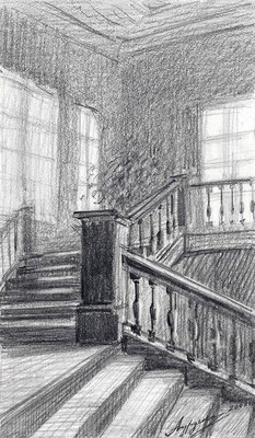 Лестница. 2003. Бумага, карандаш. 14 х 8.  Дом-музей К.С. Станиславского