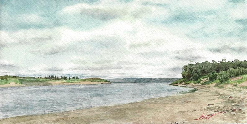 Северная Двина. 2005. Бумага, акварель. 15 х 29