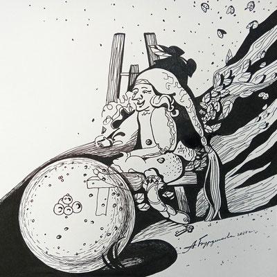 """Волшебник. 2021. Бумага, чернила. 20 х 20. Серия """"В заросшем саду""""."""