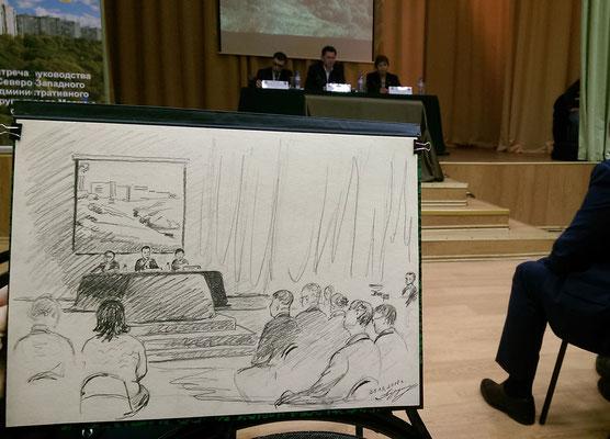 Встреча префекта Алексея Пашкова с жителями. 2018. Тонированная бумага, карандаш. 27 х 37