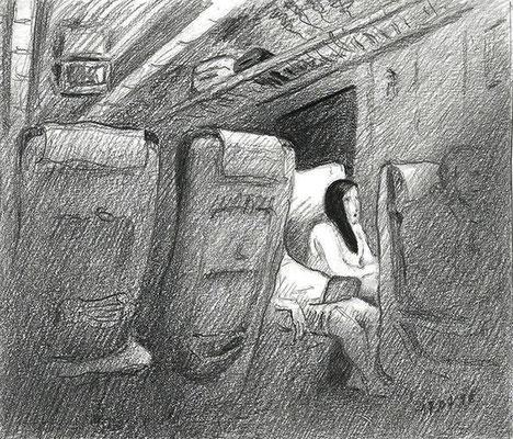 Поезд Брянск – Москва. 2016.                                         Бумага, карандаш. 12 х 14.
