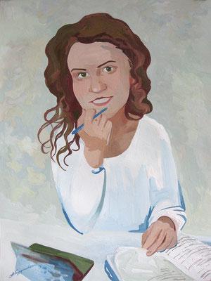 Портрет писательницы Маи Смирновой. 2021. Бумага, гуашь. 40 х 30