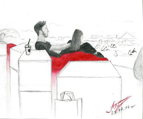 Красные подушки. 2016. Бумага, карандаш, акварель. Фестиваль. Елагин остров.