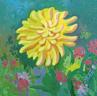 Цветок из заросшего сада. 2021. Картон, масло. 10 х 10.