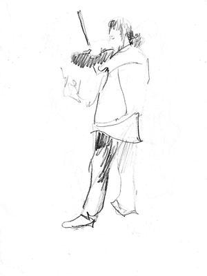 Скрипач. 1995. Бумага, карандаш. 21 Х 15