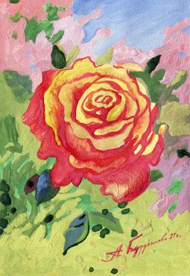 Цветок из заросшего сада. 2021. Бумага, гуашь. 15 х 10
