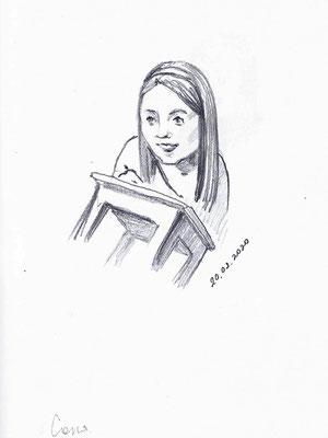 Соня. 2020. Бумага, карандаш. 12 Х 9