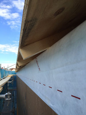 屋根の通気層:タルキの分 45mmが通気層になっています。これより下は断熱層になっています。