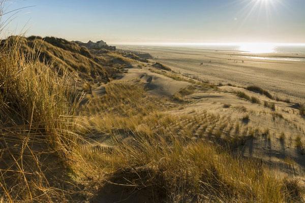 Longue plage de sable fin et dunes sauvages