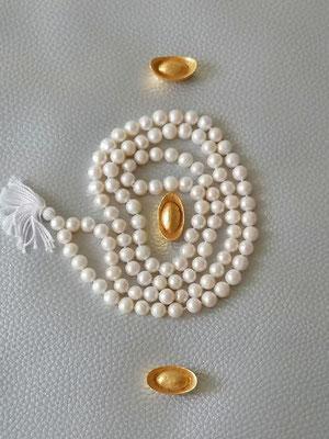 Perlenkete Sueswasserpwelen 108 Stück, als Mala zu gebrauchen
