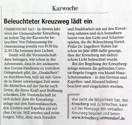 Artikel in der Schwäbischen Zeitung 29.03.2021