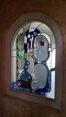Kunstverglasung Glasbild Fensterverglasung Badezimmerfenster Franz Heili
