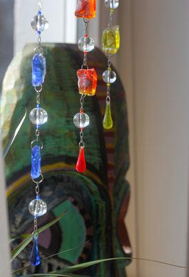 Farbglaskette, Glaskugel, Glasbrocken, Ideen aus Glas