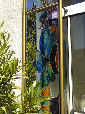 Kunstverglasung Blume Fenster Villa Faaker See Franz Heili