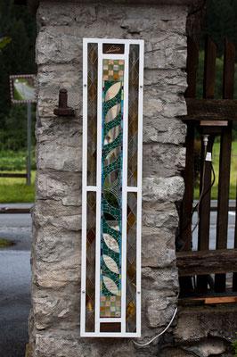 Hauseinfahrt Lampe Laterne Kunstverglasung Tiffany Säule