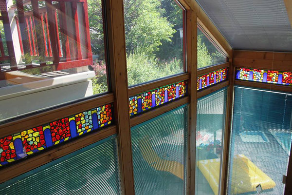 Kunstverglasung Wintergarten Glasbrocken Franz Heili