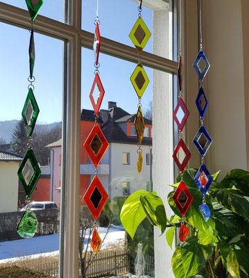Glaskette, Rautenkette, Farbglas, Ideen aus Glas