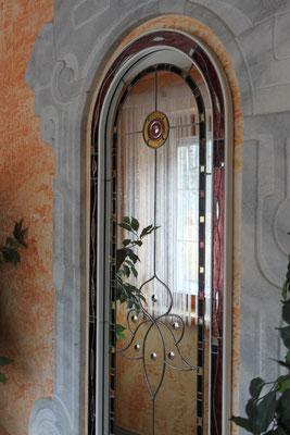 Kunstverglasung Hauseingang Linsenschliff Franz  Spiegel