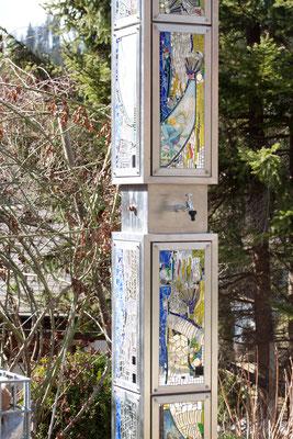 Glaskunst im Garten Spiegel Spiegelmosaik Brunnen Franz Heili