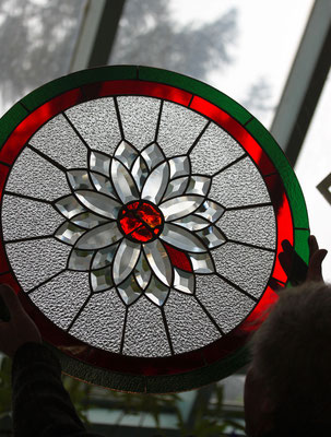 Kunstverglasung Rundfenster AHA Seniorenresidenz Draupark