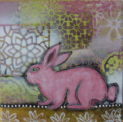 Le lapin rose , pink rabbit 20x20cm