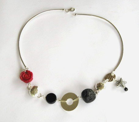 """Medley"" Necklace, Onyx, Red Coral & Black Stone"
