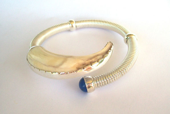 """Dimity"" - Sterling Silver, Pigs Tusk, Lapis Bangle"