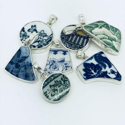 Sterling Silver Porelain Pendants