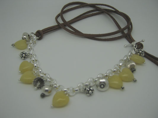 Sterling, Yellow Jade & Leather