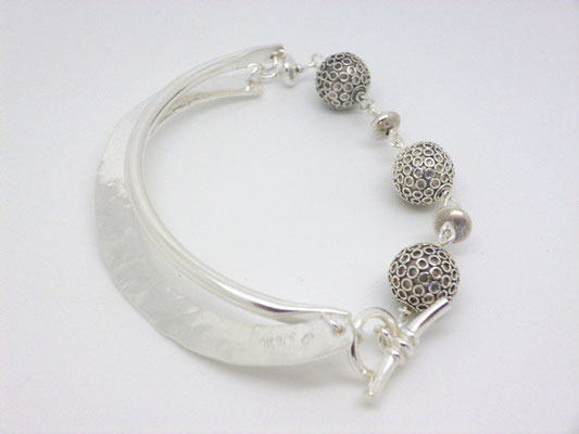 Sterling Forged & Beaded Bracelet