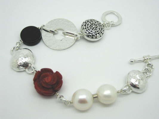 Sterling, Red Coral, Pearl & Beads Bracelts