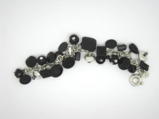 Sterling Silver & Vintage Glass Bead Bracelet