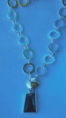 Sterling Silver Washer Necklace with Jade