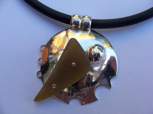 Cow Horn & Sterling Silver Pendant on Neoprene