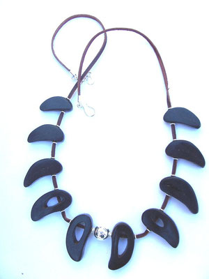 Goats Horn, Leather, Stg Silver Necklace