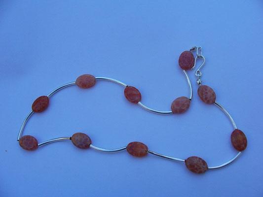 Snake Skin Agate & Sterling Necklace
