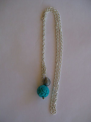 Silver Chain, Shell & Carved Chysocolla Bead