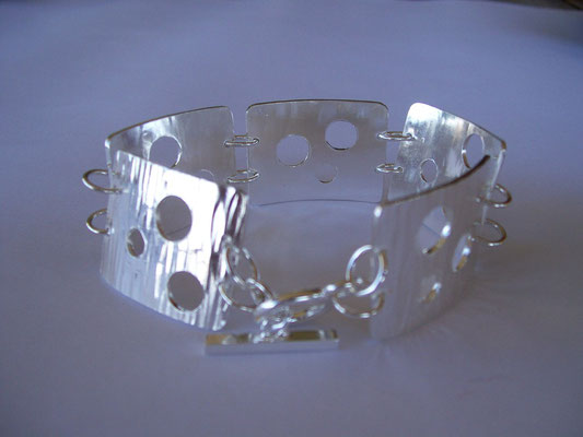 Stg Silver Swiss Cheese Bracelet