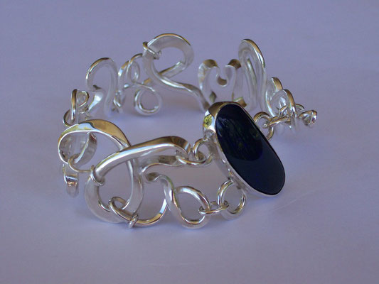 """Madness"" - Sterling Silver & Boulder Opal Forged Bangle"