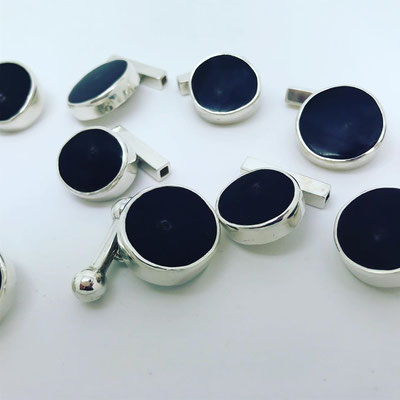 Sterling Silver & Cow Horn Cuff Links