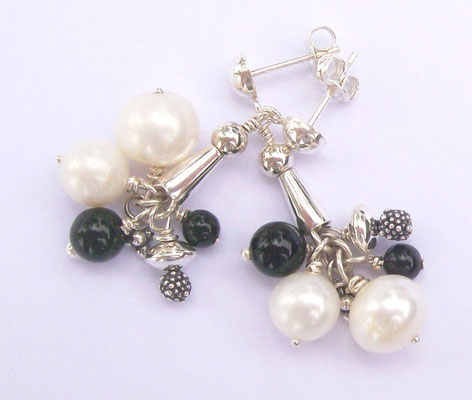 """Madonna"" Earrings, Pearl, Onxy & Sterling Silver"