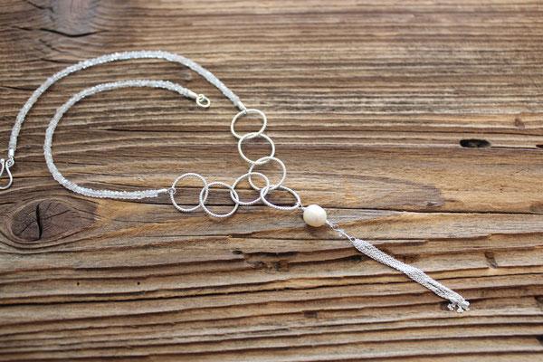 121) Halskette Silber 925 mit weissem Zirkon und Süsswasserperle, 680.-