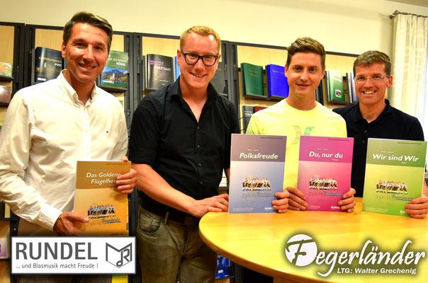 Stefan & Thomas Rundel (Musikverlag Rundel) mit Peter Leitner & Walter Grechenig