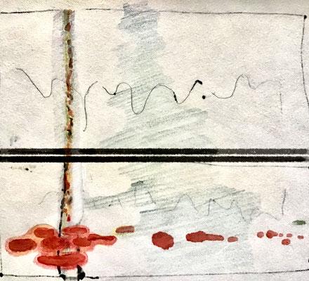 Studies 24 for Berlin winter scenes - mixed media on paper,  ≈ 30/25 cm - Ref. WP225