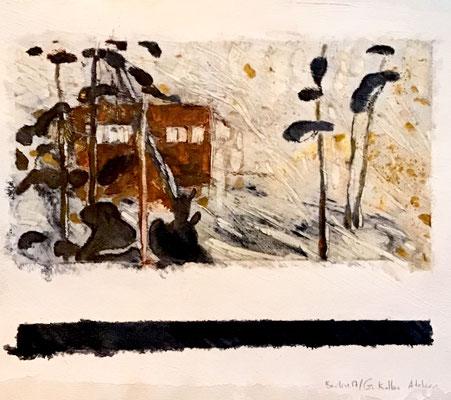 Studies for Georg Kolbe's garden 1 - mixed media on paper, ≈ 25/25 cm - WP227